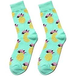 zhaoaiqin Calcetines Largos de Flores de Tubo de algodón para Hombres y Mujeres Piña Cherry Banana Monopatín de limón Calcetines de Color Europeos y Europeos, Un tamaño, Azul Claro