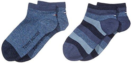 Tommy Hilfiger Unisex Kinder TH KIDS BASIC STRIPE QUARTER 2P Socken, 2er pack, Blau (Jeans 356), 23-26