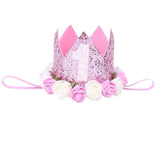 iEFiEL 1 jahr Geburtstag Baby Mädchen Haarschmuck Stirnband Baby Krone 1 jahr Babyschmuck Prinzessin Haarband Rosa One Size