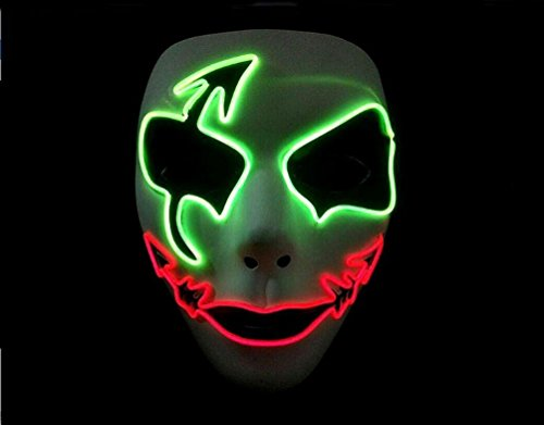 SMITHROAD EL Wire Drahtmaske Leuchten Maske LED Leucht Halloween Cosplay Partymaske mit Batterie Box Kostüme - Guy Schnelle Halloween-kostüm