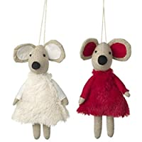 Heaven Sends Fabric Christmas Tree Hanging Fluffy Dressed Mice 18cm