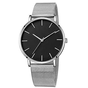 Clásicos de Acero Inoxidable Relojes de Lujo Reloj de Cuarzo Reloj de Acero Inoxidable con Brazalete Informal Impermeables Reloj Analogico para Hombre