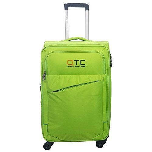 Reisekoffer QTC Stockholm Stoffkoffer Trolley Case Stoff Koffer (Neongrün, M)