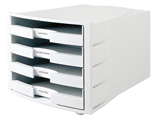HAN Schubladenbox IMPULS in Lichtgrau / Stapelbare Sortierablage mit 4 großen, geschlossenen Schubladen für DIN A4/C4 / inkl. Beschriftungsschilder