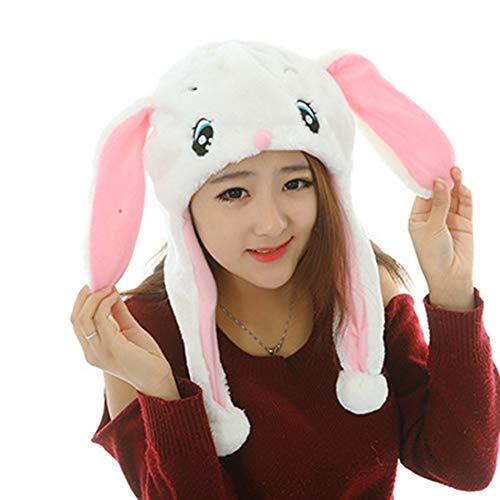 XuBa Cartoon Kinder Plüschhut Kostüm Mütze niedliches weiches Spielzeug Kopfbedeckung White Big Ear Rabbit