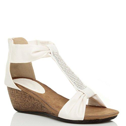 Damen Mittel Keilabsatz T-Riemen T-Spangen Reißverschluss Strass Sommer  Sandalen Größe Weiß