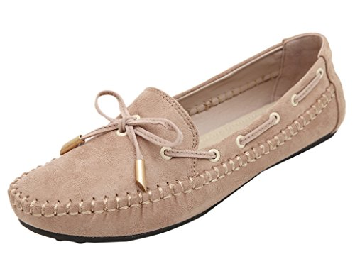 DQQ Damen Schleife Slip on Slipper Flache Schuhe, Beige - Beige - Größe: 40 (Designer 3 Light Classics)
