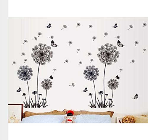 TANJINLOU Kunst Wandaufkleber Schmetterling Fliegen Löwenzahn Schlafzimmer Wohnzimmer Aufkleber Stil Wandaufkleber Design PVC Wanddekor 165 * 130 cm -