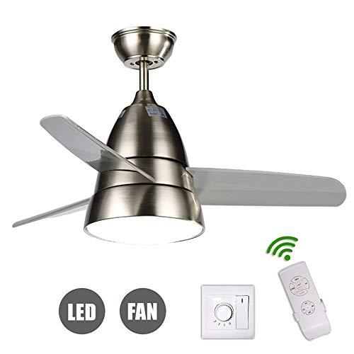 Kreative LED Deckenventilator Licht, 3 Geschwindigkeiten, Leiser Lüfter Kronleuchter Deckenlüfter, Fernbed & Deckenventilatoren mit Lampe, Moderne Wohnzimmer Schlafzimmer Restaurant Fan Beleuchtung -