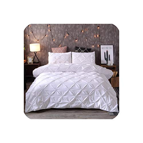 Pinch Pleat Bettwäsche Tröster Bettwäsche-Sets Bettwäsche Bettbezug-Set Bettwäsche Queen-King-Size-Bett-Bettwäsche-Set, Weiß, 228X228Cm -