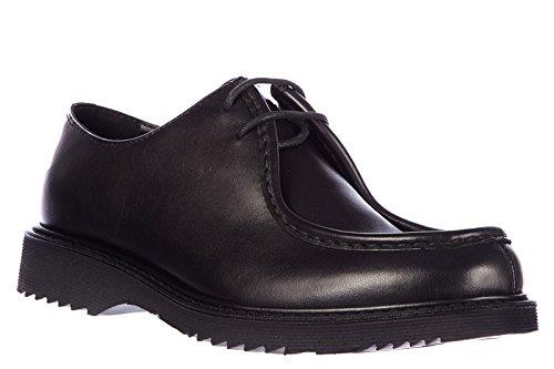 Prada chaussures à lacets classiques homme en cuir oxford rodeo noir Noir