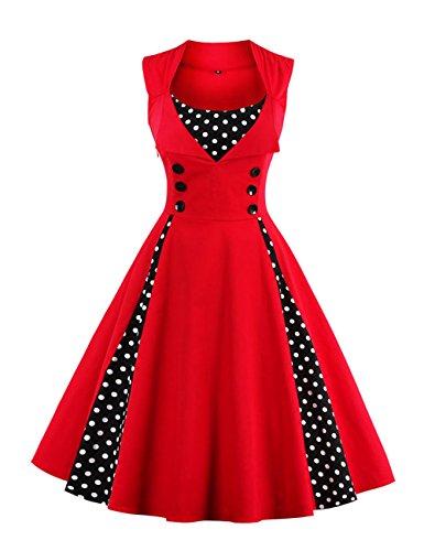 VKStar Vintage 50er Jahre Rockabilly Kleid Ärmellos Retro Swing Elegantes Abendkleid mit Knöpfe