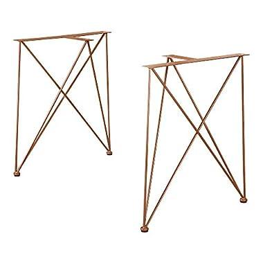 [en.casa] 2X Tischgestell 62x22x72cm Kupfer DIY Esstisch Hairpin Leg Tischuntergestell Tischkufen Tischbein Stahl