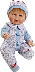 Berjuan- MUÑECO Baby Smile Pijama Azul 30 CM ARTICULADO, (495)