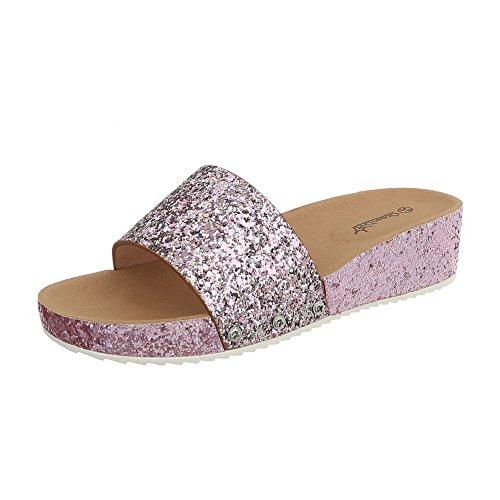 Ital-Design Pantoletten Damen-Schuhe Keilabsatz/Wedge Sandalen & Sandaletten Rosa, Gr 39, Bl95-Sf-