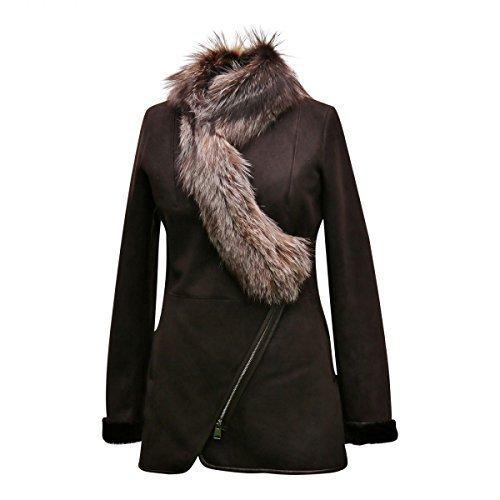 Lammfelljacke - LADY Damen Felljacke Lederjacke mit Fuchs Größe S, Farbe Braun