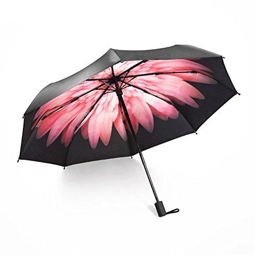 ManKn Parapluies, Parapluie Pliant - Résistant Au Vent - Contre UV 98% - Parasol Parapluie Classique de Voyage Pliable - Parapluie Haut de Gamme Golf (Rose Pâquerette)
