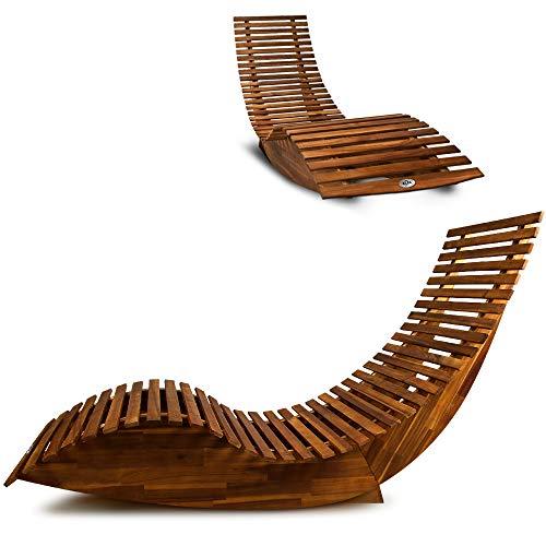Deuba | Chaise longue à bascule en bois • certifié FSC • Transat ergonomique de Jardin | Bain de soleil