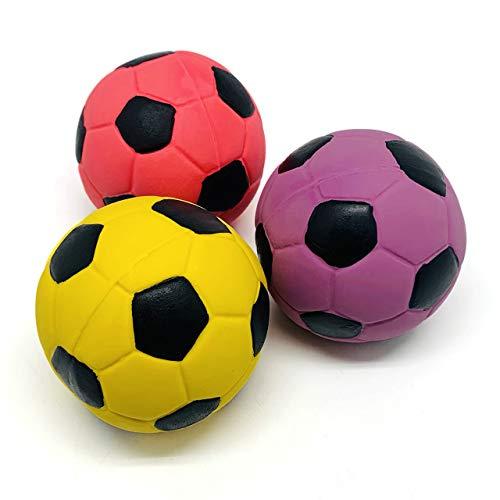 Chiwava 3 Stück 7 cm Hundespielzeug Ball aus Latex Fußball mit Quietsche Kauen Werfen Interaktives Spiel für Medium Hunde Sortierte Farbe