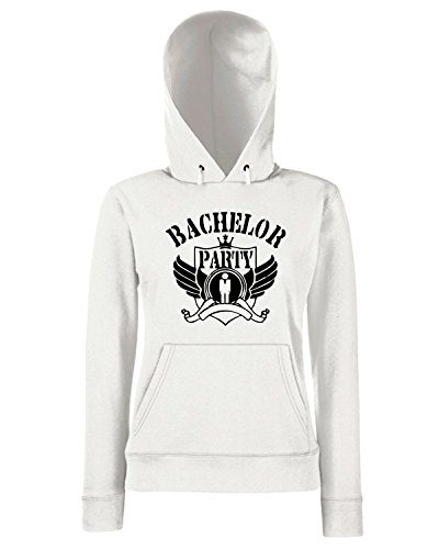 T-Shirtshock - Sweats a capuche Femme MAT0012 Bachelor Party King Maglietta Blanc