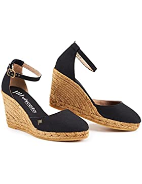 VISCATA Estartit Elegant Comfort, Canvas, Ankle-Strap, Closed Toe, Espadrilles with 3-inch Heel Made in Spain