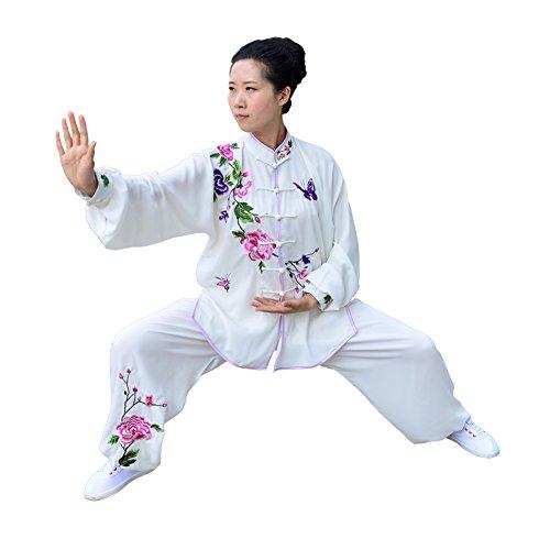 E-Bestar Kampfsport frau Uniformen Kung Fu Anzug Damen und Herren Tai Chi Anzug Shaolin Bekleidung (XL, Milchig - Päonie)
