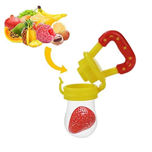Ciuccio per Frutta, Yisscen Ciuccio per Alimenti/Frutta per Bambini Include i Sacchetti in Silicone di 3 le Taglie (S, M, L) - Alimentatore di Alimenti Freschi per Neonati (Giallo)