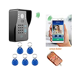 Amocam Wireless Video Door Phone Intercom Doorbell System WIFI Security Monitors Displays support Remote Control RFID Keypad Unlock Home Security Systems for smartphone free APP