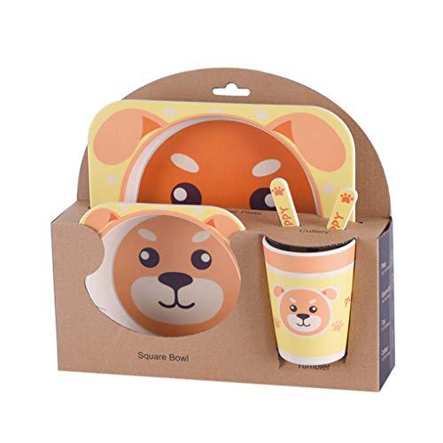 Aiming Kinder-Geschirr-Set 5er Baby-Bambusfaser-Cartoon Bowl Tier Geschirr Set Kleinkind-Cup-Löffel-Gabel