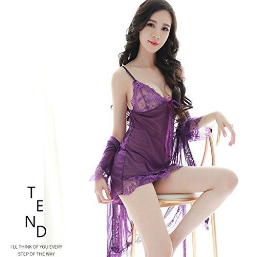 Unbekannt Sexy Dessous Frauen Sexy Temptation Transparent Spitzenband Dreiteilige Pyjamas Schlafanzug Set (Farbe : Lila)