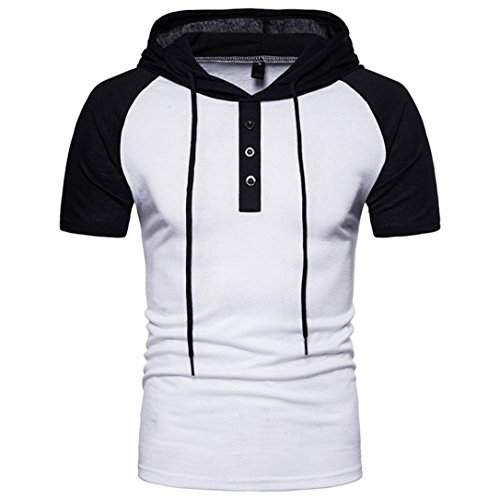 MRULIC Cool Men's Summer Casual Patchwork Hoodie Hooded Casual Short Sleeved T-Shirt Top Blouse