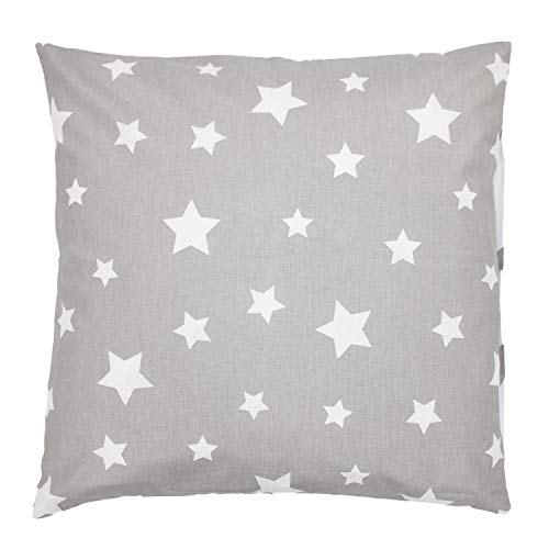 TupTam Kinder Kissenbezug Dekorativ Gemustert, Farbe: Sternbild Grau/Weiß, Größe: 80x80 cm
