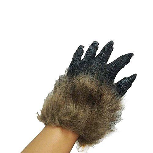 Für Handschuhe Hand-anzeige (XY Fancy Herren Braune Wolfsklaue Handschuhe Werwolf Hände für Cosplay anzeigen Kostüm Party Halloween Maskerade Party schwarz)