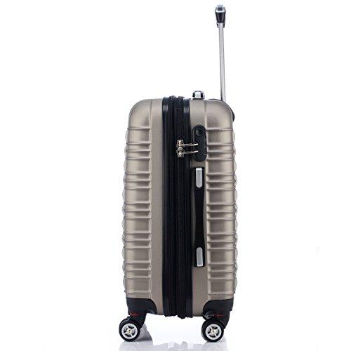 Reisekoffer 2088 Hartschalekoffer Gepäck Koffer Trolley Bordcase Handgepäck M in 14 Farben (Dunkelblau) Champagner