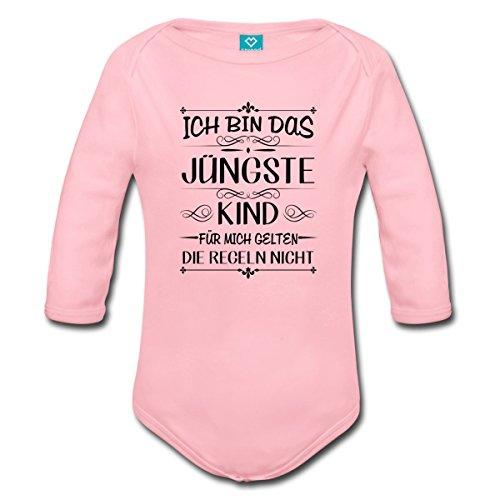 Spreadshirt Geschwister Regeln Witziger Spruch Jüngstes Kind Baby Bio-Langarm-Body, 56 (0-1 M.), Hellrosa - Kind Jüngstes