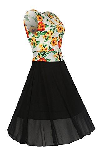 Damen Floral Ärmellose Ausgestellte A Line Umfasst Cocktail Büro Kleid Black