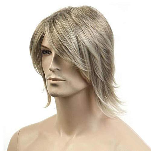(WANG Perücke Herren Kurzes Haar Mode Goldenen Männlichen Haar Flauschigen Kurzen Langen Langen Abschnitt Chemische Faser Haar Perücken)