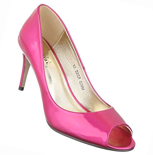Damen Schuhe Pumps Peep Toe High Heels Stiletto Pink 39