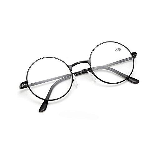 Schoenleben Runde Metall Lesebrille Herren Damen Nickelbrille Lennon Brille Lesehilfe Stärke (Schwarz, 1.5)