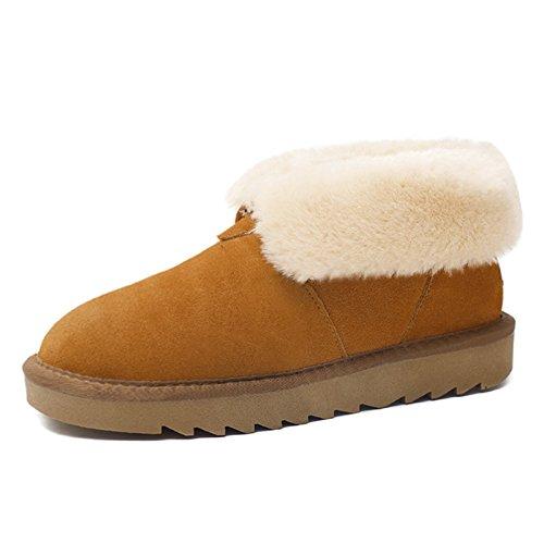 FLYRCX Winter Snow Boots ladies custodia in pelle Slip tubo corto con caldo cotone scarpe e dimensione europea: 35-40 C