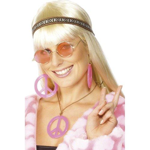 Amakando Hippie Kostüm Set Damen 70er Jahre Brille, Stirnband und Schmuck Hippie Schmuckset Hippieset Flower Power Modeschmuck Faschingskostüm Zubehör