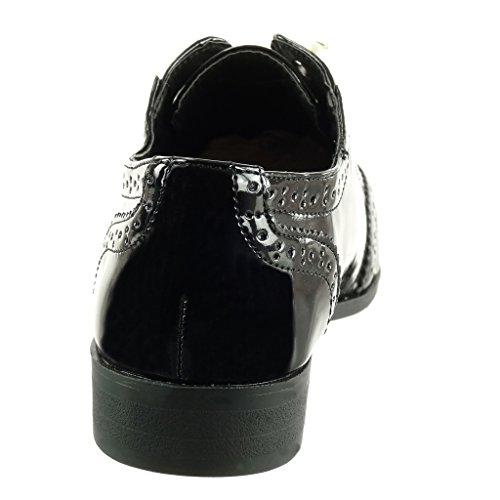 Angkorly - Scarpe da Moda scarpa derby slip-on donna perla perforato verniciato Tacco a blocco 2.5 CM Nero