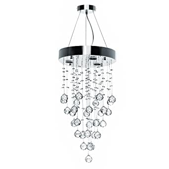 Modern Ceiling Light Lamp (3 x 40 W sockets) Crystal Droplets Pendant Chandelier
