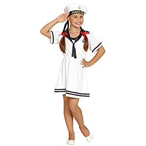 WIDMANN 03094?Disfraz para niños Sailor Girl, Vestido y Sombrero, Color Blanco, tamaño 104