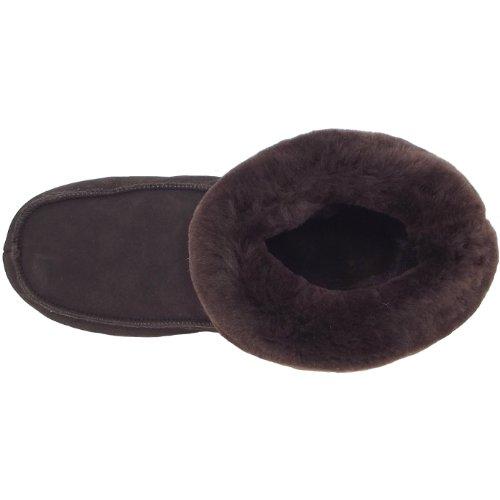 Fellhof Chausson de chalet, Chaussons peau de mouton unisexe brun foncé