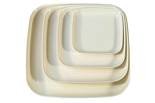 Eco Bamboo Square Dinner & Serving Plates, White by Yumi Nature+ (Bamboo Plate Square Dinner)
