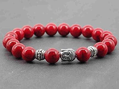 Bracelet pour homme Thurcolas ethnique Zen en perles de turquoise composée rouge et Bouddha en métal argenté