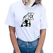 ZODOF Camiseta Blusa para Mujer Camiseta Blusas Sueltas Ocasionales de Manga Corta