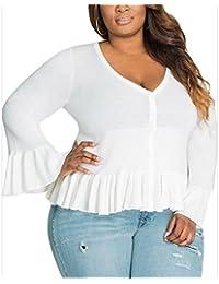 WLITTLE Damen Modern Langarmshirts Strickpullover V-Ausschnitt Mollige  Frauen Knitting Herbst Winter Langarm Tshirt Bluse Casual Pullover… c2f363bc2f