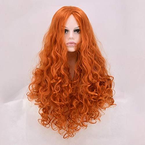 Flauschige große lockige Haare COS Anime Perücke Perücke lange orange Lockenperücke 80cm durch WIG MINE (Kostüm Merida Erwachsene)